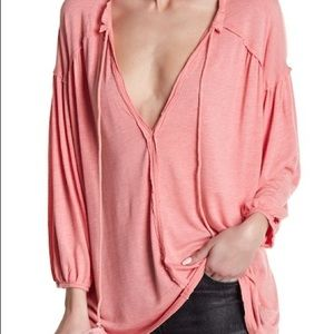 NEW! Free People Pink long sleeve with ties